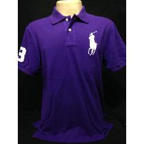 Camiseta Polo Ralph Lauren Roxa Com Cavalo Branco Tam Ggg