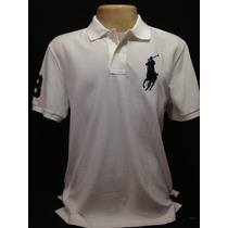 Camiseta Polo Ralph Lauren Branca Big Poney Azul Tam M