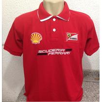 Camisa Camiseta Polo Ferrari Scuderia Gola Dupla Promocão