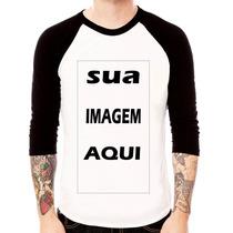 Camiseta Personalizada Raglan 3/4 100% Algodão