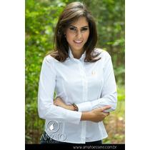 Camisa Social Tradicional Branca Com Recortes - 1034