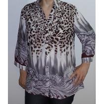 Camisa Casual Em Viscose Estampa De Onça