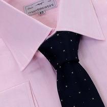 Camisa Social Algodão Egípcio Fio 80 Listrada Maquineta Rosa