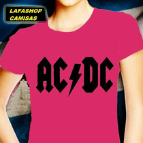 Camiseta Acdc Baby Look Feminina Ac Dc Mulher Banda Rock Dvd