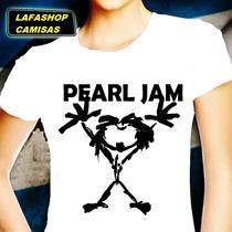 Camiseta Pearl Jam Bandas Camisa Baby Look Feminina Branco