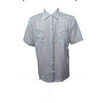 Camisa Blusão Masculina Social Manga Curta Listrada Bolso