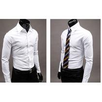 Camisa Social Slim Fit Masculina Branca Importada.
