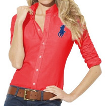 Camisa Social Polo Ralph Lauren Feminina Vermelha