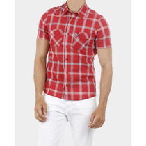 Camisa Xadrez Masculina Bucannes Vermelha E Branca Slim Fit