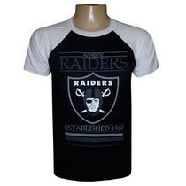 Camiseta Oakland Raiders Preta E Branca
