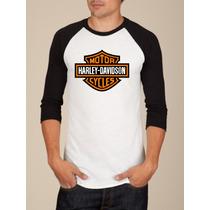 Camiseta Raglan Manga Longa Harley Davdson Rock Moto