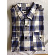 Camisa Siberian Masculina Xadrez Slim Fit - Azul E Branca M