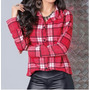 Camisa Blusa Feminina Manga Longa Xadrez Moda Country