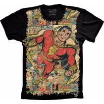 Camisa Capitão Shazam Preta Infantil Adão Negro Masculina Pv