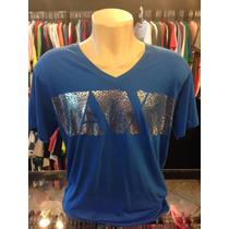 Camiseta Armani Exchange Azul Tam Gg Gola V Original #056