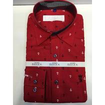 Camisa Social Masculina Sergio K Estampada , Cor Vermelho