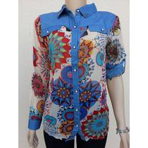 Camisa Blusa Feminina Verão Manga Longa Estampada Floral