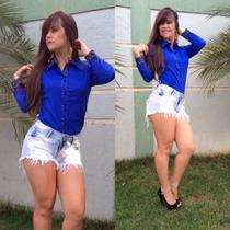 Camisas Polo Blusa Azul Feminina Social Executiva Elegante