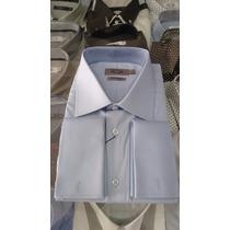 Camisa Social Masculina Abotoadura Duplo Punho ( Azul )