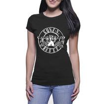 Camisa Feminina Guns N Roses - Baby Look - Preto