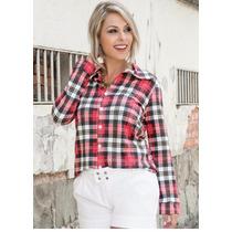Camisa Blusa Feminina Manga Longa Xadrez Moda Country Cowboy