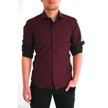 Camisas Sociais Masculina Vinho Baratas