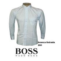 Camisa Social Hugo Boss Branca Listrada - Frete Grátis