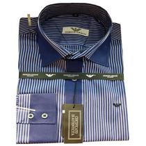 Camisa Social Masculina Armani Listras Finas - Azul Marinho