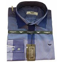 Camisa Social Giorgio Armani Azul Masculino