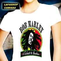 Camiseta Bob Marley Camisa Baby Look Feminina Mulher Moca