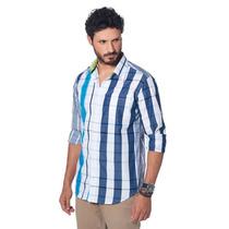 Camisa Slim Fit Listrada Bruno Conte Azul E Branca Xadrez