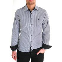 Camisa Slim Fit Listrada (pronta Entrega) Frete Gratis
