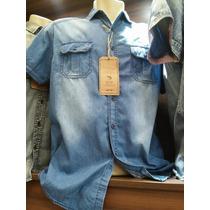 Camisa Jeans Azul Masculina Manga Curta