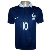 Camisa Seleção França Azul Marinho Gola Branca