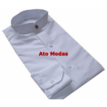 Camisa Masculina Gola De Padre Branca