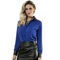 Camisa Azul Da Moda Social Feminina Principessa Riana