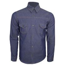 Camisa Fit Slim Masculina Tecido Jeans Azul Escuro Chambrey