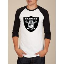 Camiseta Raglan Manga Longa Nfl Futebol Americano Raiders