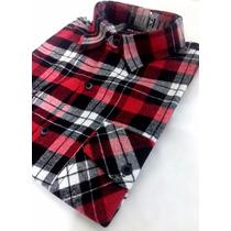 Camisa De Flanela Xadrez Lenhador Vermelha E Preta