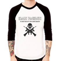 Camisa Blusa Raglan 3/4 Iron Maiden Caveira