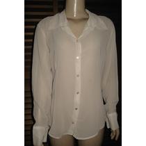 Camisa Social Feminina Em Voal Transparente Tam M