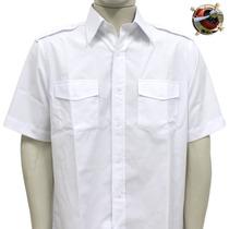 Camisa Branca Uniforme Piloto De Avião - Manga Curta