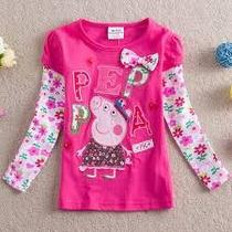 Blusa Peppa Pig Malha Manga Longa Infantil Inverno Camisa