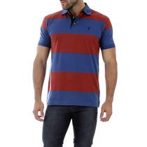 Camisa Polo Masculina Aleatory Azul Listrada Slim Fit Lauren