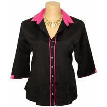 Camisa Camisete Feminina Plus Size Dudalinda Flor