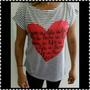 Camiseta Tshirt De Manga Listras E Coração E Amor E Vida
