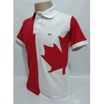 Camisa Polo Bordada Bandeira De País Canadá