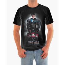 Camisa Capitão América - Guerra Civil Em Malha Dryfit