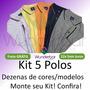 Kit 5 Camisas Polo Masculina Plus Size Até G4 Frete Gratis