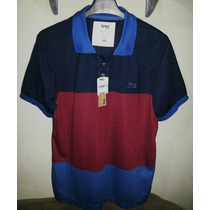 Camisa Polo Masculina Marca Famosa (tng) Azul & Vermelha Gg.